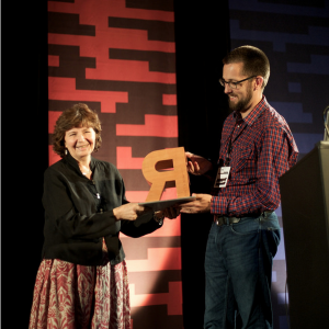 Fiona Ross receiving SoTA Typography award